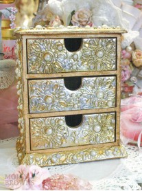Gold Pearl & Diamante Embellished 3-Drawer Jewellery Chest
