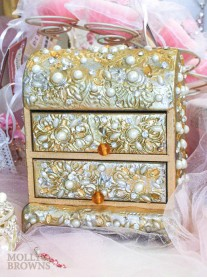 Gold Pearl & Diamante Embellished Jewellery Chest