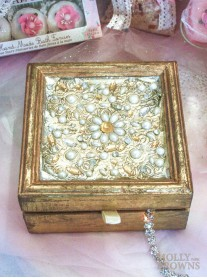 Gold Pearl & Diamante Jewellery Box - Large