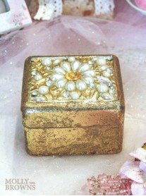 Gold Pearl & Diamante Jewellery Box - Small