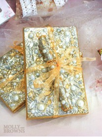 Gold Pearl Embellished Notebook & Pen