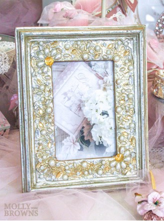 Gold Pearl Embellished Photo Frame 4x6