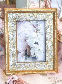 Gold Pearl Embellished Photo Frame 5x7