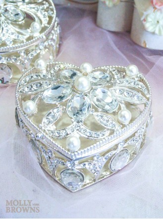 Heart Diamante & Pearl Trinket Box