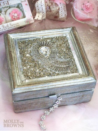 Large Silver Embellished Jewellery Box