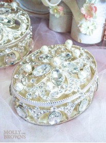 Oval Diamante & Pearl Trinket Box