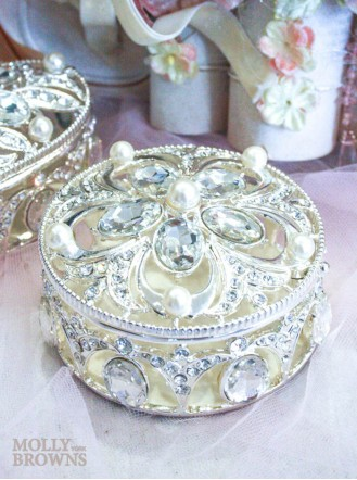 Round Diamante & Pearl Trinket Box