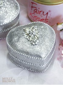 Silver Crystal Embellished Trinket Box - Heart