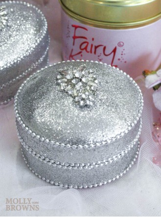 Silver Crystal Embellished Trinket Box - Round