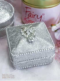 Silver Crystal Embellished Trinket Box - Square