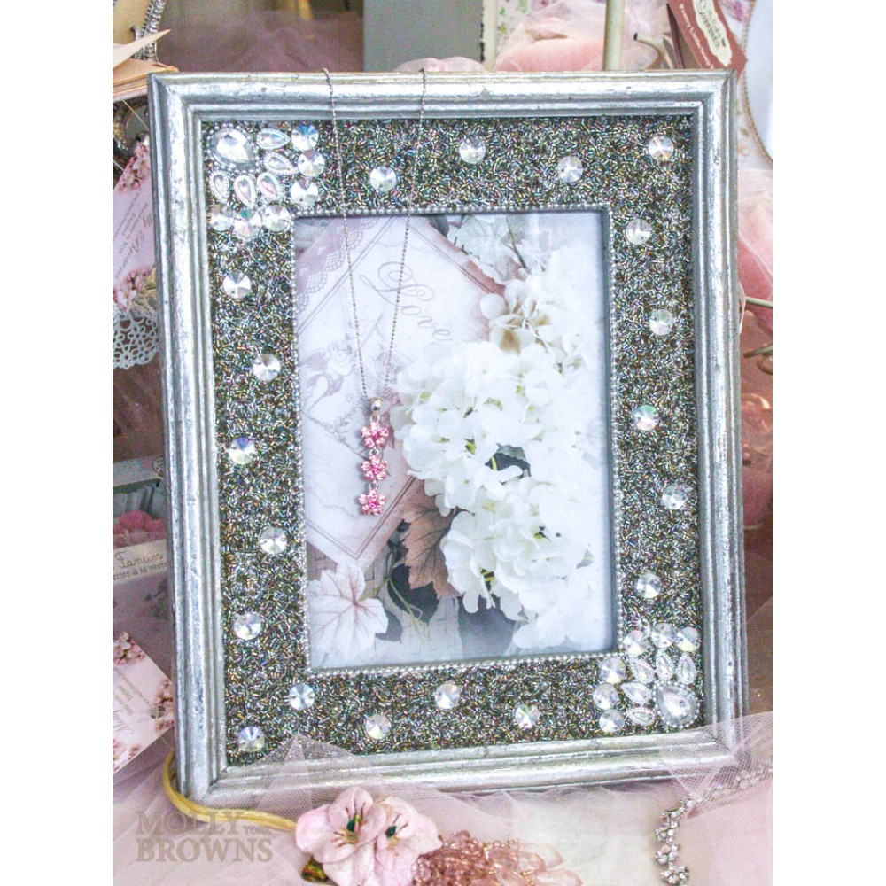 Silver diamante embellished photo frame 5x7 by molly browns for Embellished mirror frame