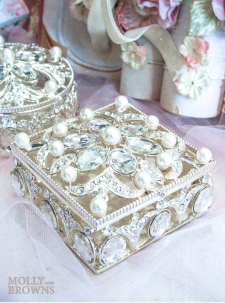 Square Diamante & Pearl Trinket Box