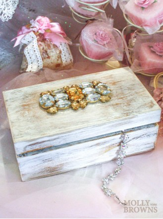 Wood Crystal Embellished Box - Large