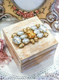 Wood Crystal Embellished Box - Medium