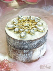 Wood Gold & Crystal Embellished Round Trinket Box