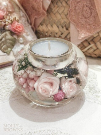 Pink Rose Tea Light Holder (Small)