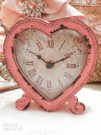 Pink Shabby Chic Heart Clock