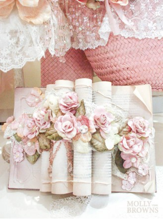 Shabby Chic Rose Gold Floral Book Decoration