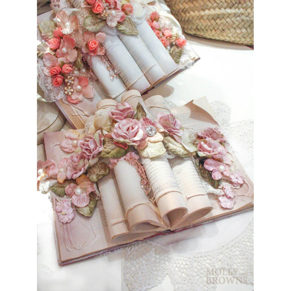 Shabby chic rose gold floral book decoration home for Decoration rose gold