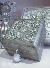 Small Silver Embellished Jewellery Box