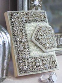 White Beaded Crystal Credit Card Holder