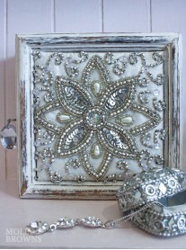 White Distressed Jewelled Jewellery Box - Large