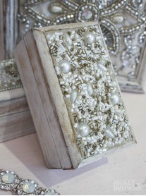 White Distressed Jewelled Mini Jewellery Box