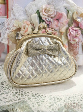 Gold Quilted Purse With Bow