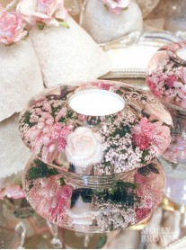 Floral Glass Tea Light Holder (Large)