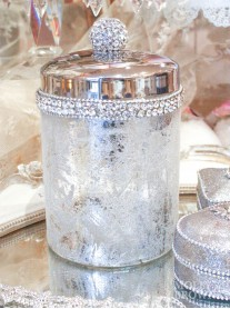 Silver & Diamante Dresser Jar