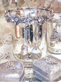 Silver & Gold Diamante Tea Light Holder - Large