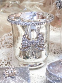 Silver & Gold Diamante Tea Light Holder - Small