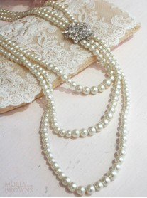3 Strand Pearl Crystal Necklace