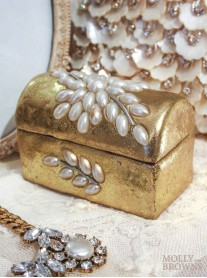 Gold Metallic Pearl Trinket Box
