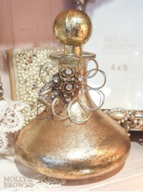 Gold Perfume Bottle With Decorative Flower
