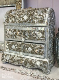 Jewelled Mosaic Jewellery Chest - Silver