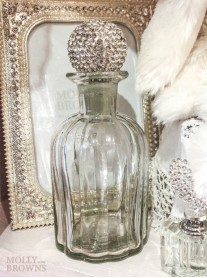 Large Silver Crystal Perfume Bottle