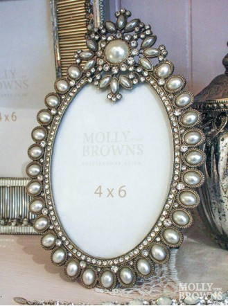 Ornate Oval Pearl Picture Frame 4 x 6