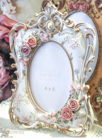 Ornate White Floral Photo Frame 4 x 6