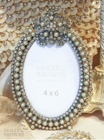 Oval Pearl and Diamante Picture Frame 4 x 6
