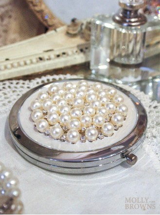 Pearl & Diamante Compact Mirror