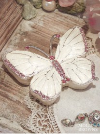 Pink Butterfly Diamante Trinket Box