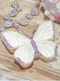 Purple Butterfly Diamante Trinket Box