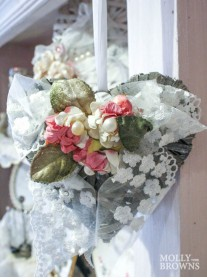 Shabby Chic Lace Floral Heart Decoration - Small