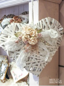 Shabby Chic White Floral Heart Decoration - Large