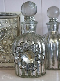 Silver Embellished Perfume Bottle