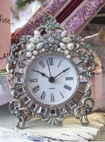 Silver & Pearl Ornate Clock