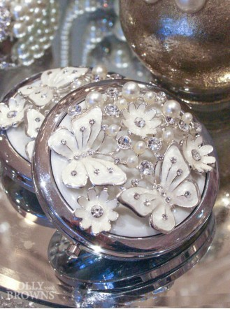 Crystal Butterfly Compact Mirror