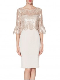 9005 Lace Top Dress - Antique Rose (Gina Bacconi)