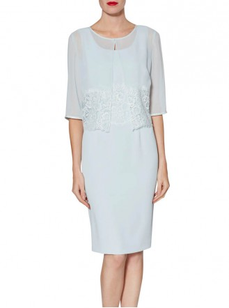 9013 Chiffon Dress & Jacket - Blue / Buttermilk (Gina Bacconi)